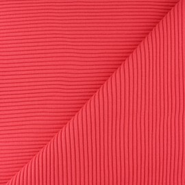 Tissu jersey tubulaire bord-côte 3/3 - corail  x 10cm