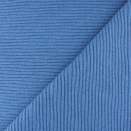 Knitted Jersey 3/3 tubular edging fabric - mottled blue x 10 cm