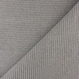 Knitted Jersey 3/3 tubular edging fabric - mottled beige x 10 cm