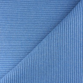 Tissu jersey tubulaire bord-côte 3/3 lurex - bleu  x 10cm