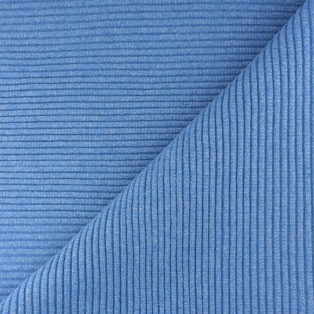 Lurex knitted Jersey 3/3 tubular edging fabric - blue x 10 cm