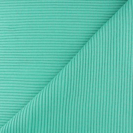Tissu jersey tubulaire bord-côte 3/3 lurex - vert lagon  x 10cm