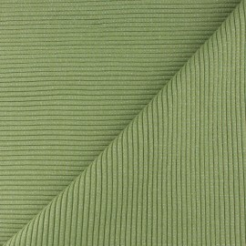 Lurex knitted Jersey 3/3 tubular edging fabric - lime green x 10 cm