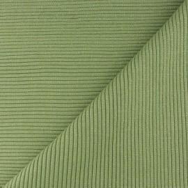 Tissu jersey tubulaire bord-côte 3/3 lurex - tilleul  x 10cm