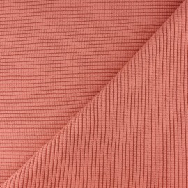 Tissu jersey tubulaire bord-côte 3/3 lurex - corail x 10cm