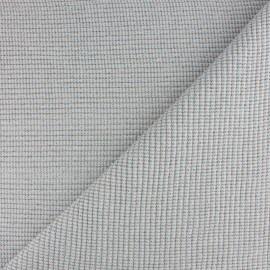 Tissu jersey tubulaire bord-côte 3/3 lurex - mauve x 10cm