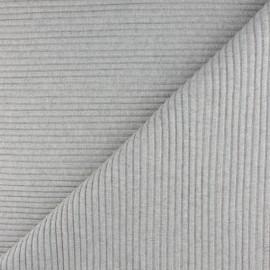 Tissu jersey tubulaire bord-côte 3/3 lurex - écru chiné x 10cm
