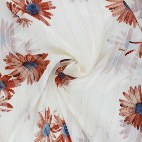 Lurex Muslin fabric - red Margarita x 50cm