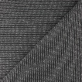 Lurex knitted Jersey 3/3 tubular edging fabric - medium grey x 10 cm