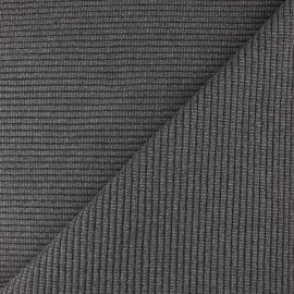 Tissu jersey tubulaire bord-côte 3/3 lurex - gris moyen x 10cm
