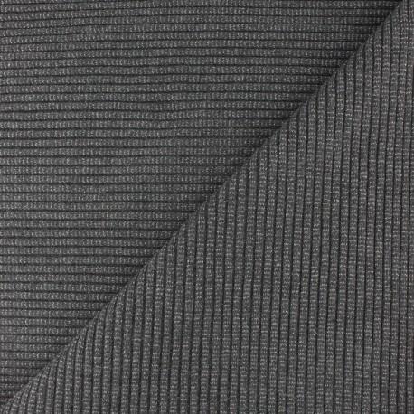Lurex knitted Jersey 3/3 tubular edging fabric - medium grey x 10 cm
