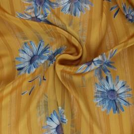 ♥ Coupon 290 cm X 150 cm ♥ Tissu Mousseline lurex Margarita - jaune