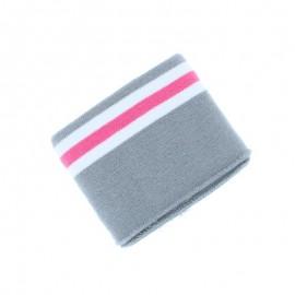 Poppy Striped Edging Fabric (135x7cm) - Grey Bayadère