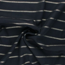 Tissu voile de viscose Lurex Queen - Noir/doré x 10cm
