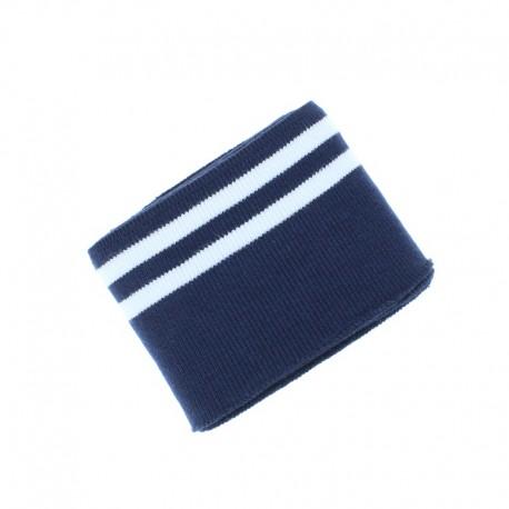 Poppy Edging Fabric (135x7cm) - Navy blue/White Double Stripe