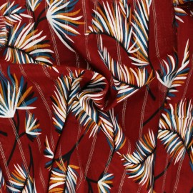 Lurex Viscose fabric - burgundy Palm x 10cm