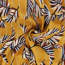 Tissu viscose Lurex Palm - Moutarde x 10cm