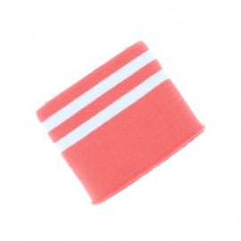 Poppy Edging Fabric (135x7cm) - Coral/White Double Stripe
