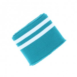 Poppy Edging Fabric (135x7cm) - Teal blue/White Double Stripe