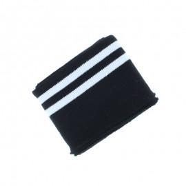 Poppy Edging Fabric (135x7cm) - Black/White Double Stripe