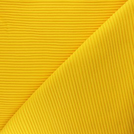 Knitted Jersey 3/3 tubular edging fabric - yellow x 10 cm