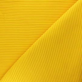 Tissu jersey tubulaire bord-côte 3/3 - jaune  x 10cm