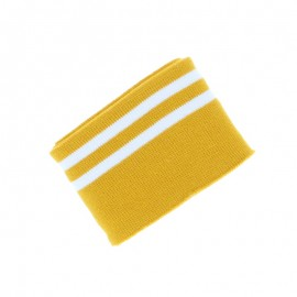 Poppy Edging Fabric (135x7cm) - Ochre/White Double Stripe