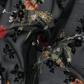 Velvet flocked Muslin fabric - black Magnolia x 50cm