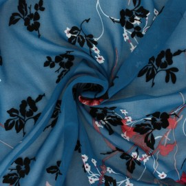 ♥ Coupon 190 cm X 150 cm ♥  Tissu Mousseline floqué velours Magnolia - bleu