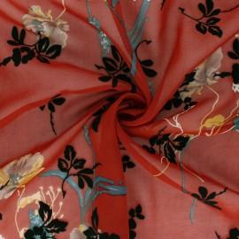 Tissu Mousseline floqué velours Magnolia - brique x 50cm