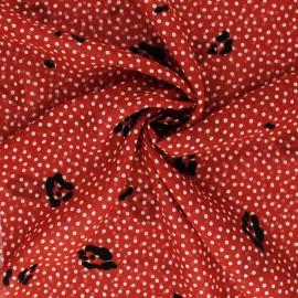 ♥ Coupon 120 cm X 150 cm ♥ Tissu Mousseline floqué velours Allure - brique