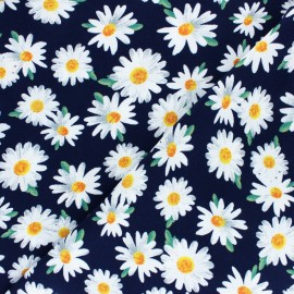 Viscose Fabric - Navy blue Big Daisy x 10cm