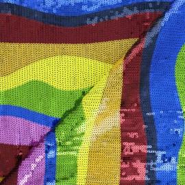 Tissu tulle brodé de sequin Pretoria - multicolore x 30cm