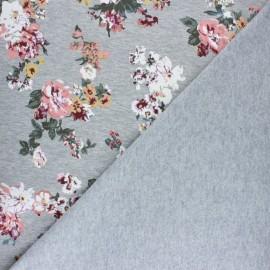 Tissu coton sweat Grand bouquet - Rose x 10cm