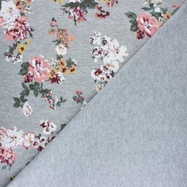 Tissu coton sweat Grand bouquet - Rose x 10cm