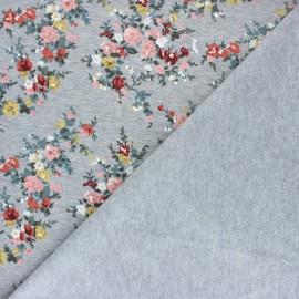 Tissu coton sweat Petit bouquet - Rose x 10cm