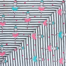 Cotton Jersey fabric - Pink/Blue Jolie Danseuse x 10cm