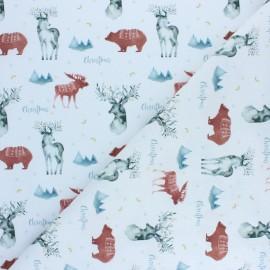Cretonne Cotton fabric - Red Christmas Deer x 10cm