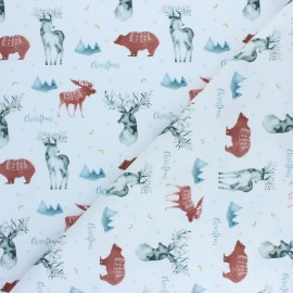 Tissu coton cretonne Christmas Deer - rouge x 10cm
