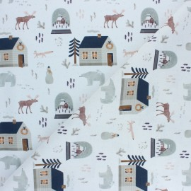 Cretonne Cotton fabric - Grey Nordic Christmas x 10cm