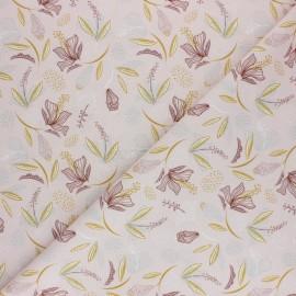 Tissu coton cretonne Floraison - Rose pâle x 10cm