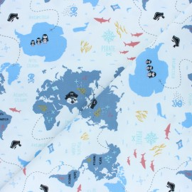 Jersey cotton fabric - Blue Pirate map x 10cm