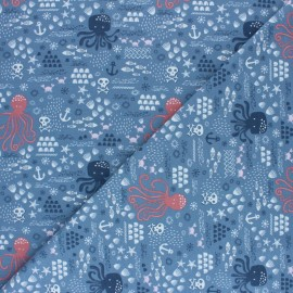 Jersey cotton fabric - Blue Fond marin x 10cm