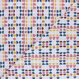 Jersey cotton fabric Pink circle stripes x 10cm