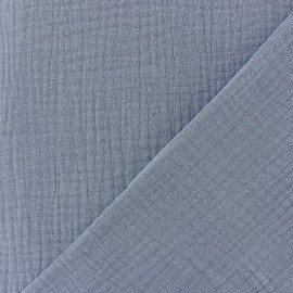 Tissu triple gaze de coton uni MPM - bleu niagara x 10cm