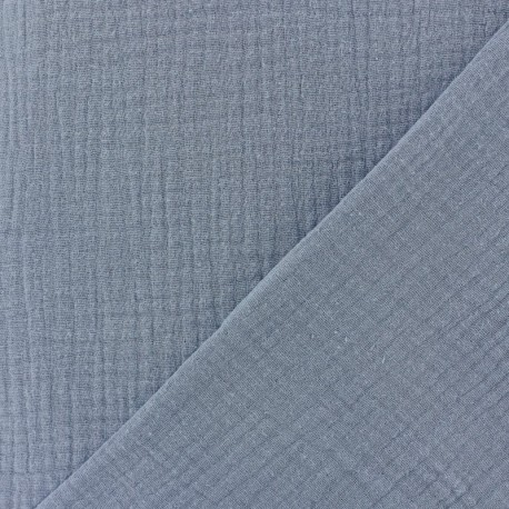 Plain Triple gauze fabric - Blue Niagara x 10cm
