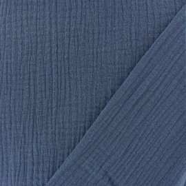 Plain Triple gauze fabric - Swell blue x 10cm