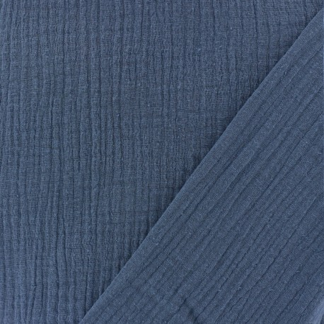 Plain Triple gauze fabric - Swell blue x 10cm