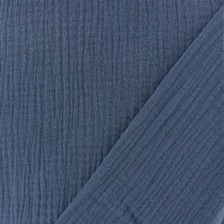 Tissu triple gaze de coton uni - bleu houle x 10cm