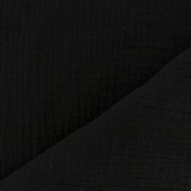 Tissu triple gaze de coton uni - noir x 10cm